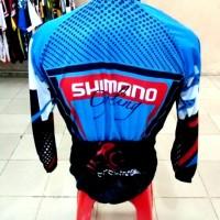 Kaos / Jersey Sepeda Shimano Cycling Biru Lengan panjang