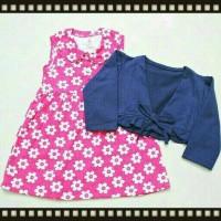 harga baju bayi ank perempuan dress bunga bolero tali biru dongker Tokopedia.com
