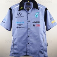 Kemeja Bordir Automotif F1 Mercedes Benz Abu Abu
