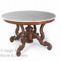 Meja Makan Kayu Jati dan Marmer Bulat Besar Antik