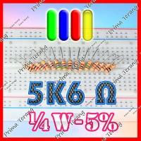 5K6 Ohm Resistor 1/4 Watt 5% R 1/4 W 5600 Ohm