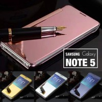 Free Tempered Glass Mirror Cover Flip Case Samsung Note 5 Back Casing