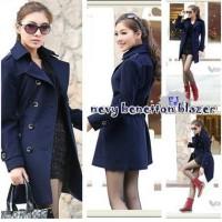 LONG COAT BLUE DRESS BLAZER JACKET / SWEATER JAKET FLEECE WANITA