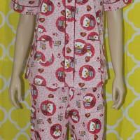 baju tidur wanita love cat lengan pendek/celana panjang pink k.batik