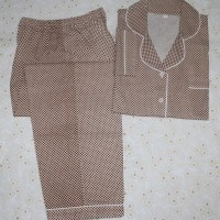 baju tidur wanita square lengan panjang/celana panjang coklat/wht