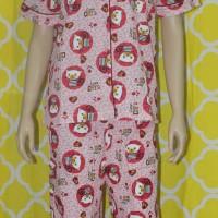 baju tidur wanita love cat lengan pendek/celana panjang pink