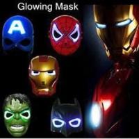 Topeng Lampu Nyala Lamp LED Glow Mask Ultraman Iron Man Spiderman