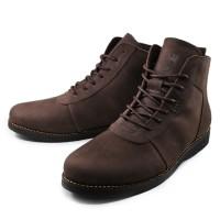 Jual Sauqi Brodo Boots Sol Hitam Sepatu Pria Warna Coklat 100% Kulit Asli Murah