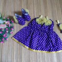 baju pesta bayi set dress bayi, boots prewalker,bandana cantik kuning