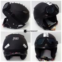Helm Retro Pilot Klasik JPN MOMO RED GLOSSY + Kacamata