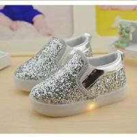 Shoes, Kets, Sepatu LED Anak Perempuan Blink Silver Kid Import
