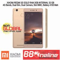 XIAOMI REDMI 3S PRO GOLD RAM 3GB/32 GB GRS 1 TAHUN.