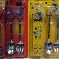 harga 1 set sendok garpu DORAEMON Frozen ,cars, Spiderman, Little pony Anak Tokopedia.com