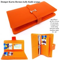 DOMPET KULIT SOFT HERMES KELLY KARTU KW EXPORT ORANGE