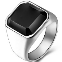 harga Cincin Pria Stainless Steel Black Onyx Ring Biker Titanium Signet Tokopedia.com