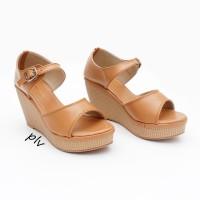 harga Sepatu Sandal Wanita Wedges Ankle Strap BNR01 Tan Tokopedia.com