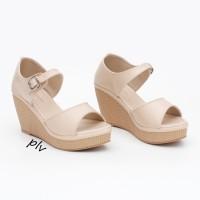 harga Sepatu Sandal Wanita Wedges Ankle Strap BNR01 Cream Tokopedia.com