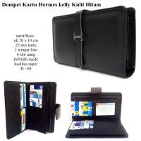 Dompet wanita kulit hrmes Kelly kartu 25 card hitam
