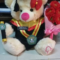 Jual boneka wisuda bear cream 40cm + buket Murah
