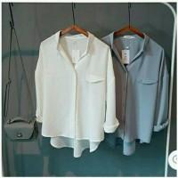 harga kemeja wanita putih polos abu abu polos blouse baju hem Tokopedia.com