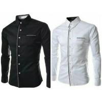 Kemeja Carlos Pakaian Pria Kemeja kerja warna putih hitam