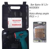 PAKET!!! Mesin Bor Cordless 12V Modern + Mata Obeng PH2 + / - Monaco