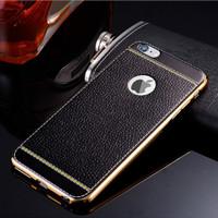 TPU Leather metal bumper case Iphone 5/5s