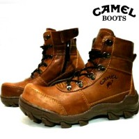 Sepatu Boots Proyek Safety Kontruksi Outdoor Bikers Touring Camel