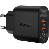 Jual Aukey PA-T7 USB 2 Port Wall Charger Qualcomm QC 2.0 EU Plug 36W Murah