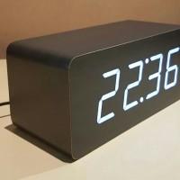 Jam Kayu Uk. Besar Led Warna Putih (Sensor Suara,Alarm,Calender,Suhu)