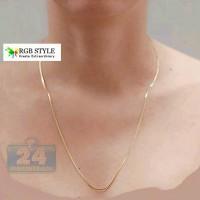 Kalung Titanium 316L Pria Wanita Panjang Tipis Gold Emas