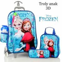 Jual Tas Troli Anak Frozen Kaca Mata+Led 3D 5in1 Set Murah