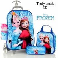 Jual Tas Troli Anak Frozen Kaca Mata-Led 3D 5in1 Set Murah