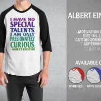Kaos Albert Einstein T-Shirt Raglan Art & Quotes Kata-kata