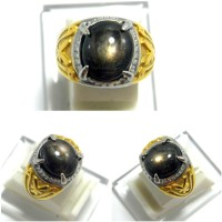 Cincin Batu Permata Natural Black Sapphire / Safir Golden
