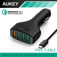 Jual AUKEY FAST QUICK CHARGER CAR CHARGER 4 USB PORT QUICK CHARGE 3.0 CC-T9 Murah