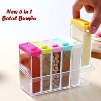 Kotak Tempat Bumbu Dapur 6in1 Kotak Garam warna-warni LD0585