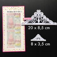 Jual PL113 Tiara Set Of 2 cetakan fondant bento crown cutter mahkota baking Murah