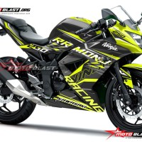 Decal Stiker Kawasaki Ninja 250RR Mono Black Geenlime slash