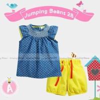 harga Jumping Beans 28 Tunic Set Blue Polka Yellow - baju anak import Tokopedia.com