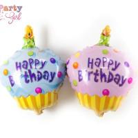 Balon Foil Happy Birthday Cupcake Size 45 cm