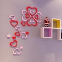 Jual 3D wall sticket hiasan dekorasi dinding dari kayu motif love murah Murah