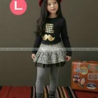 pakaian anak perempuan / 124L baju setelan kaos + leging rok