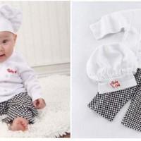 3in1 KOSTUM KOKI Baju Anak Branded Sale Topi Celana Import Master Chef