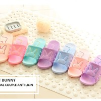 Best Bunny Sandal Rumah anti Licin - Pink Ungu Biru & Peach
