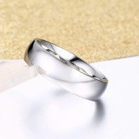 CINCIN POLOS TITANIUM ELEGAN SILVER STAINLESS STEEL RING COUPLE