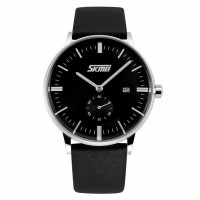 SKMEI 9083CL Jam Tangan Pria Casual Leather Strap Watch - Black