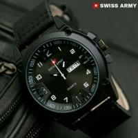 Jual Jam Tangan Pria Swiss Army Kulit Coklat Hitam-Putih Tgl & Hari Aktif Murah
