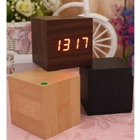 Jam Meja Digital Model Kayu Kotak / LED Wooden Clock JK808/ Weker Un