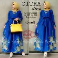 citra dress batik crepe /4warna/baju muslim wanita